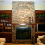 interior fireplace with mantle - Kirk Wylie Masonry