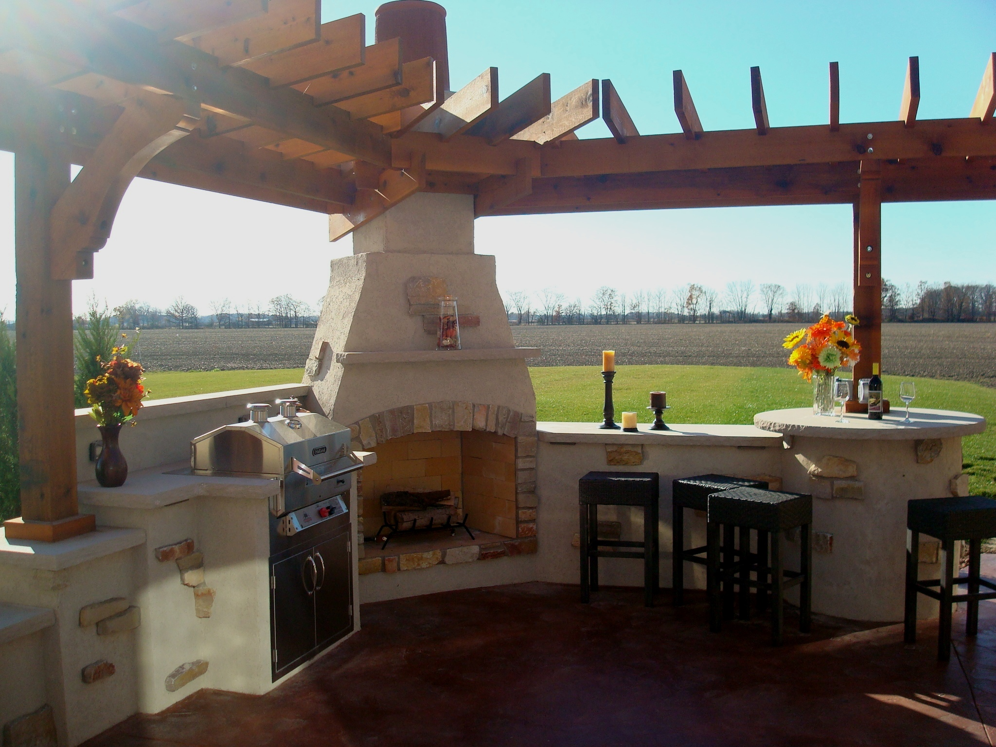Bryan Ohio Outdoor Fireplace Bbq Sit Wall Bar Center Pergola Patio Kirk Wylie Masonry